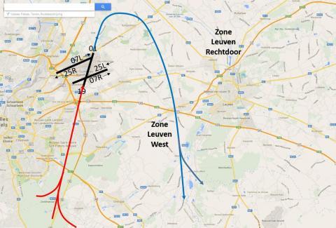 Opstijgen van baan 01 met overvliegen van Leuven West regio